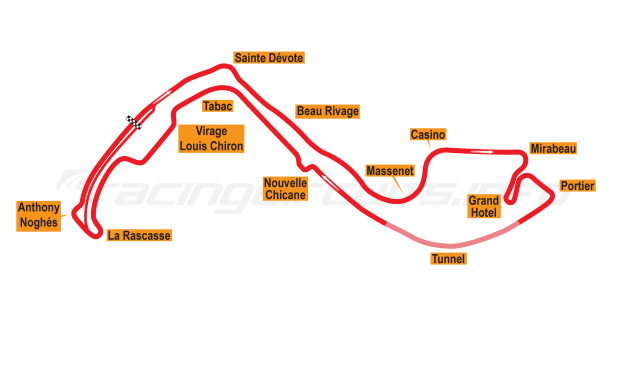 Map of Monte Carlo, Grand Prix Circuit 1997-2002