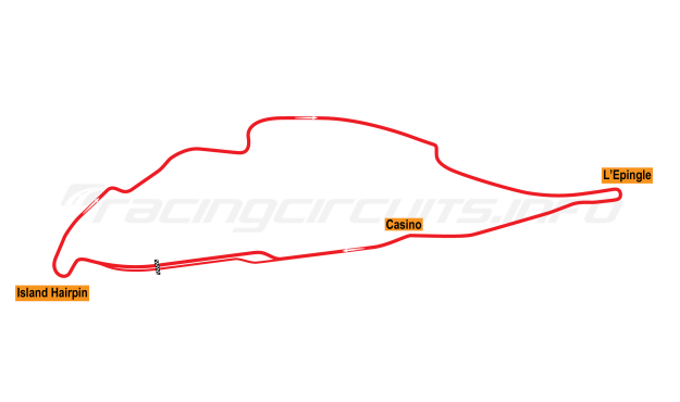 Map of Circuit Gilles Villenueve, Grand Prix Circuit 1988-90