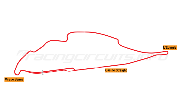 Map of Circuit Gilles Villenueve, Grand Prix Circuit 1996-2001