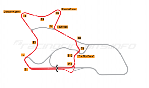 "Map of Morgan Park Raceway, Circuit ""E""  2010 to date"