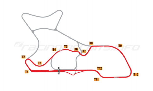 "Map of Morgan Park Raceway, Circuit ""G""  2010 to date"