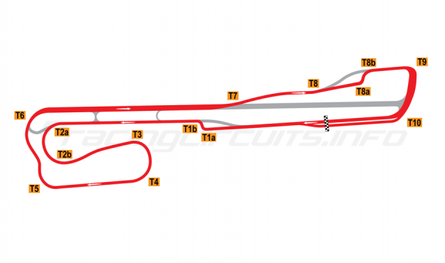 Map of Palm Beach International Raceway, Road Course + T1 and T8 chicane 2001