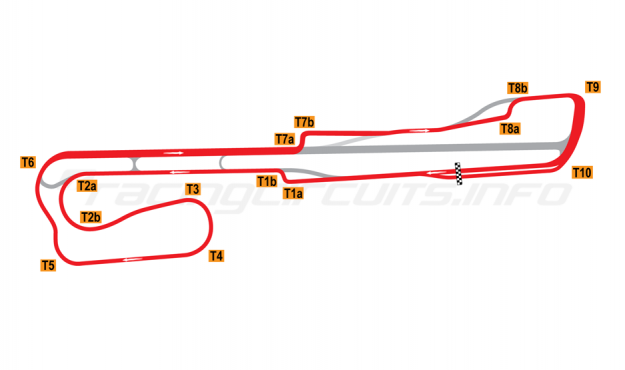 Map of Palm Beach International Raceway, Road Course + T1 and T8 chicane 2002-2007