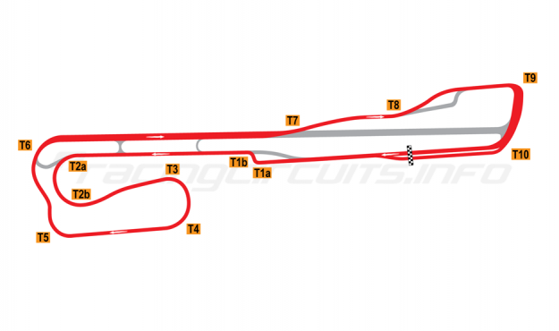 Map of Palm Beach International Raceway, Road Course + T1 chicane 2001