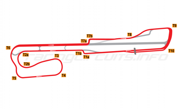 Map of Palm Beach International Raceway, Road Course + T1 chicane 2002-2007