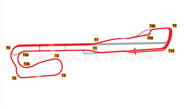 Map of Palm Beach International Raceway, Road Course + T8 chicane 2001