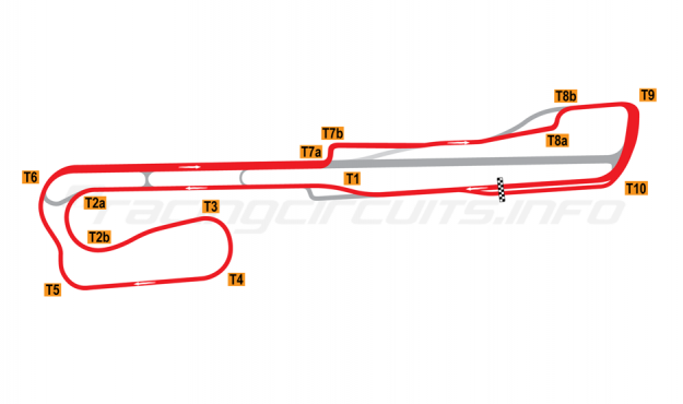 Map of Palm Beach International Raceway, Road Course + T8 chicane 2002-2007