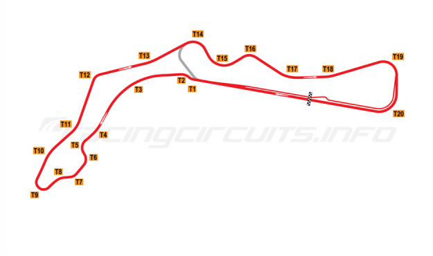 Map of Most, Grand Prix Circuit 1983-2004