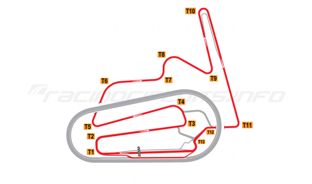 Map of Motegi, Indycar Road Course 2011 to date