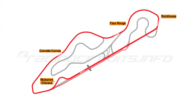 Map of NCM Motorsports Park, Corvette Race Loop Course with Mulsanne Chicane 2014 to date