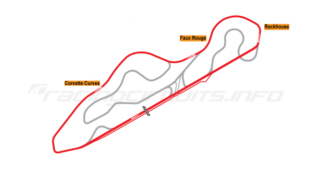 Map of NCM Motorsports Park, Corvette Race Loop Course 2014 to date