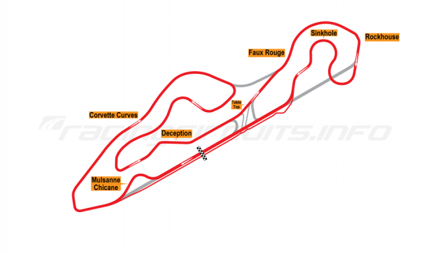 Map of NCM Motorsports Park, Grand Full Course with Mulsanne Chicane 2014 to date