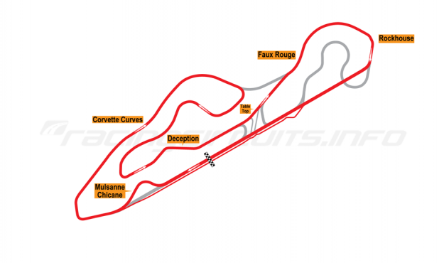 Map of NCM Motorsports Park, Grand Max Straight Course with Mulsanne Chicane 2014 to date