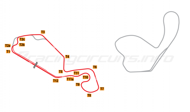 Map of New Jersey Motorsports Park, Thunderbolt Circuit (with Turn 2 chicane) 2008 to date