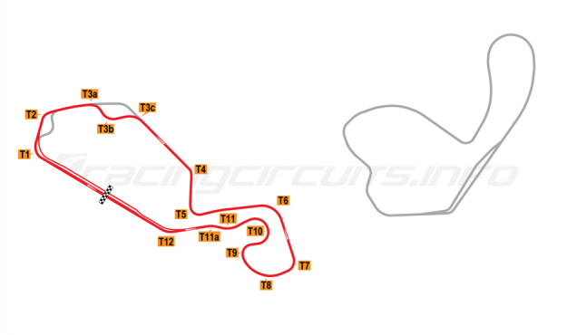 Map of New Jersey Motorsports Park, Thunderbolt Circuit (with Turn 3 chicane) 2008 to date