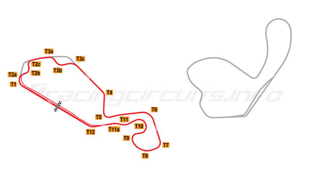 Map of New Jersey Motorsports Park, Thunderbolt Circuit (with both chicanes) 2008 to date