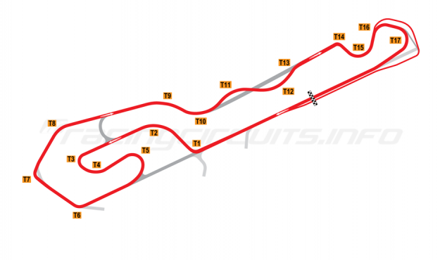 Map of NOLA Motorsports Park, A Course 2015 onwards