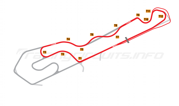 Map of NOLA Motorsports Park, B Course 2015 onwards