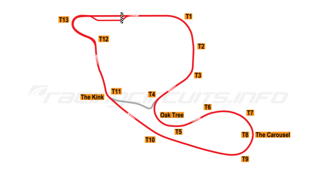 Map of Nelson Ledges, Road Course 1970-2003