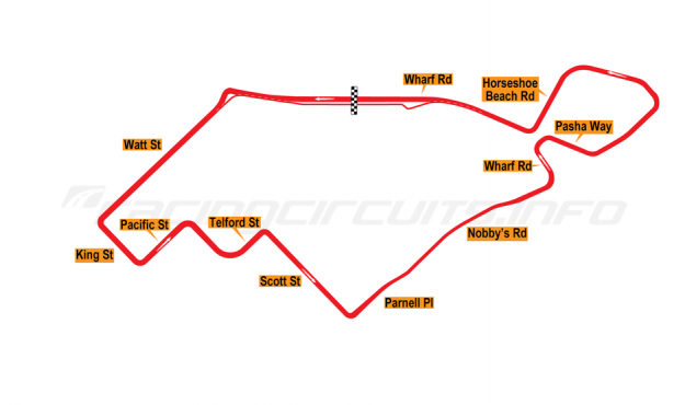 Map of Newcastle, Street Circuit (proposal not developed) 2016 proposal