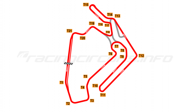 Map of Ningbo International Speedway, Full circuit 2017 to date