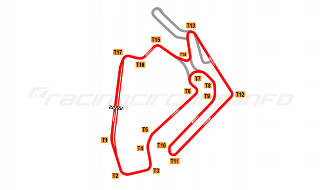Map of Ningbo International Speedway, Intermediate circuit 2017 to date