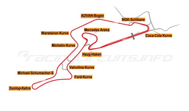 Map of Nürburgring, Grand Prix Circuit + Mercedes Arena 2003 to date