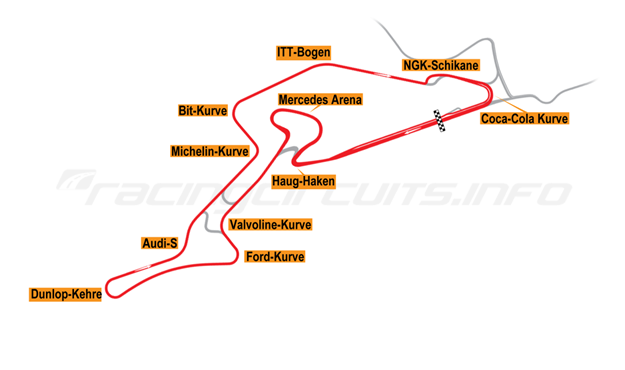 Map of Nürburgring, Grand Prix Circuit + Mercedes Arena + F1 Chicane 2002