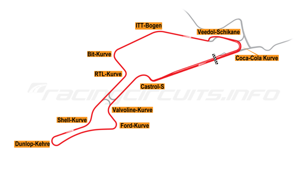 Map of Nürburgring, Grand Prix Circuit + F1 Chicane 1995-97
