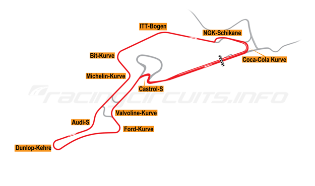 Map of Nürburgring, Grand Prix Circuit + No Arena + F1 Chicane 2002