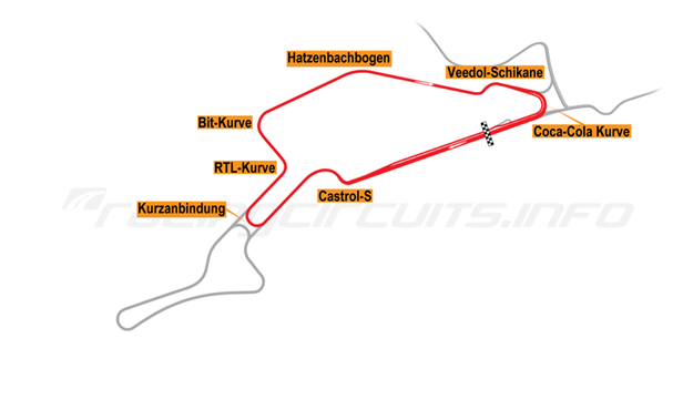 Map of Nürburgring, Sprint Circuit 1990-94