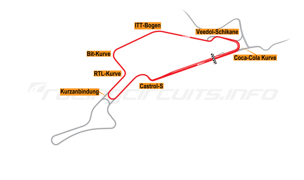 Map of Nürburgring, Sprint Circuit 1995-97