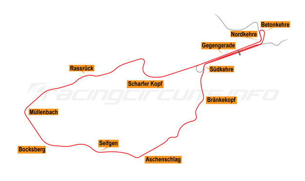 Map of Nürburgring, Südschleife 1969-72