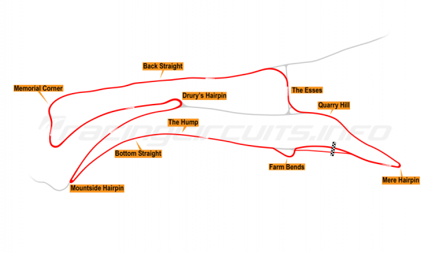Map of Oliver's Mount, Race Circuit 2001-02