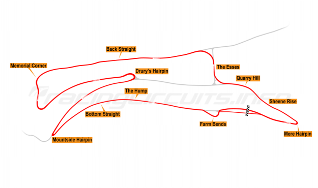Map of Oliver's Mount, Race Circuit 2003