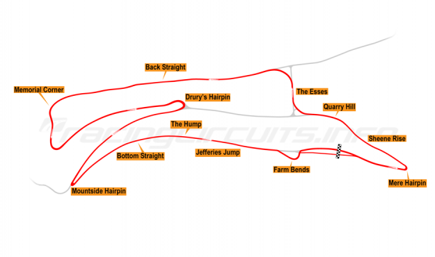 Map of Oliver's Mount, Race Circuit 2004 to present