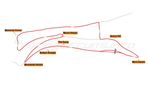 Map of Oliver's Mount, Race Circuit 1947-50