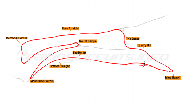 Map of Oliver's Mount, Race Circuit 1954-90