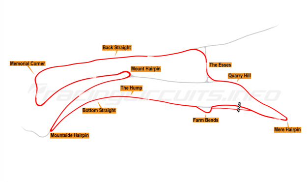 Map of Oliver's Mount, Race Circuit 1991-2000