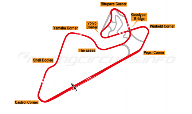 Map of Oran Park, Motorcycle Grand Prix Circuit 1985-98