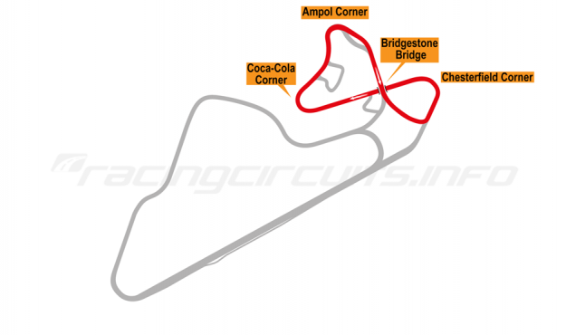 Map of Oran Park, North Circuit 1974-84