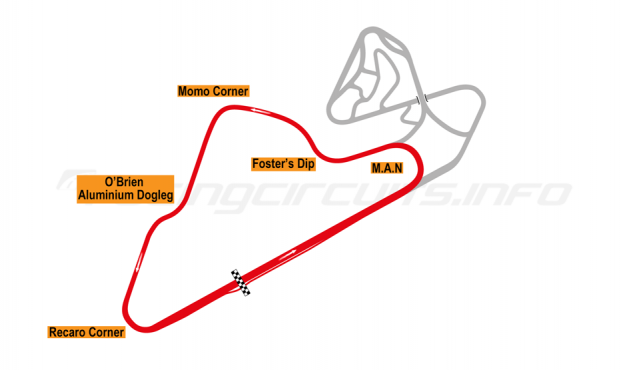 Map of Oran Park, South Circuit 1999-2000