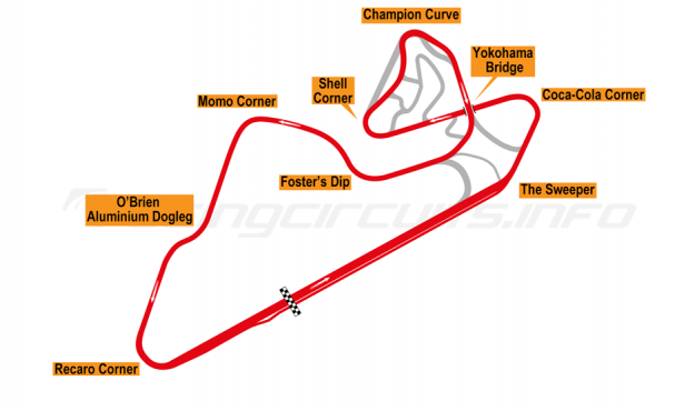 Map of Oran Park, Motorcycle Grand Prix Circuit 2001-10
