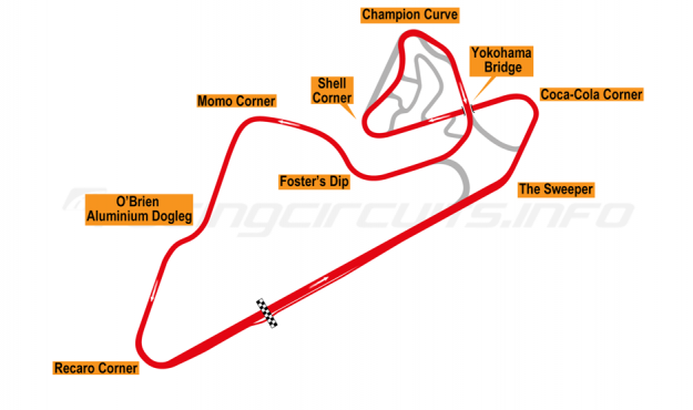 Map of Oran Park, Motorcycle Grand Prix Circuit 1999-2000