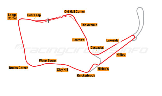 Map of Oulton Park, Island Circuit 2003 to date