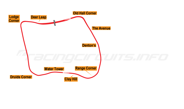 Map of Oulton Park, Original Circuit 1953