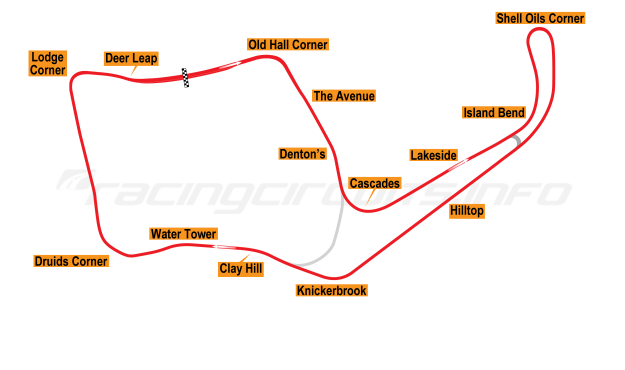Map of Oulton Park, International Circuit 1954-60