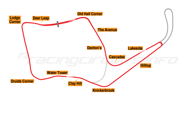 Map of Oulton Park, Island Circuit 1954-60