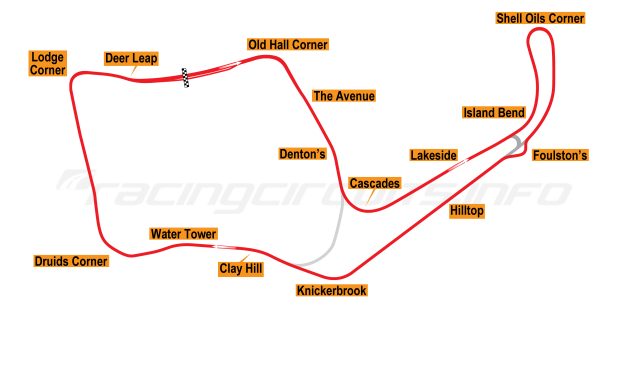 Map of Oulton Park, International Circuit 1973-74