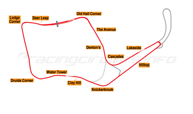 Map of Oulton Park, Island Circuit 1975-1991
